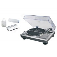 Audio-Technica AT-LP120-USB Direct-Drive Professional Turntable in Silver bundled with the AT-6012 record cleaner kit