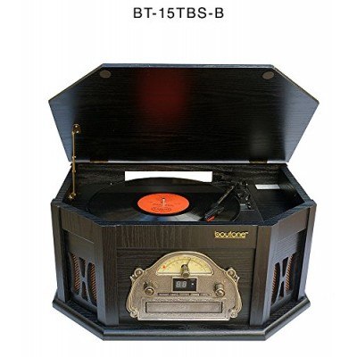 7-in-1 Boytone BT-15TBSB Classic Turntable Stereo System, Vinyl Record Player, AM/FM, CD, Cassette, USB, SD slot. 2 Built-in Speaker, Remote Contro...