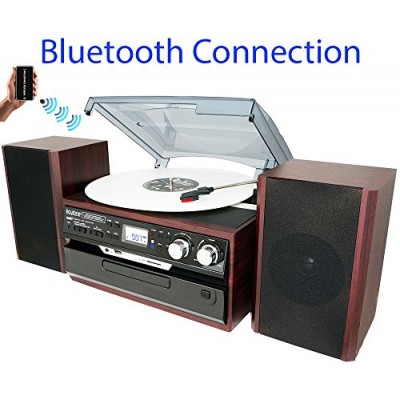 8-in-1 Boytone BT-24DJM Turntable with Bluetooth Connection, 3 Speed 33, 45, 78 Rpm, CD, Cassette Player AM, FM USB, SD Slot, Aux, Encoding Vinyl &...