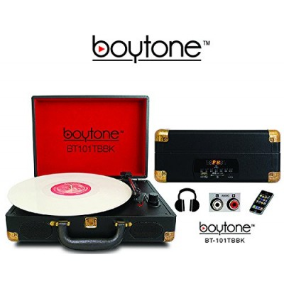 Boytone BT-101TBBK 5 in 1 Briefcase Record Player AC-DC Built in Rechargeable Battery, with 2 Stereo Speakers 3-speed 33/45/78, LCD Display, FM Rad...