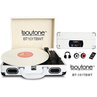 Boytone BT-101TBWT 5 in 1 Briefcase Record Player AC-DC Built in Rechargeable Battery, With 2 Stereo Speakers 3-speed 33/45/78, LCD Display, FM Rad...