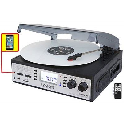 Boytone BT-19DJS-C 3-speed Turntable, 2 Built in Speakers Large Digital Display AM/FM, Cassette, USB/SD/AUX/MP3, Recorder & WMA Playback /Recorder ...