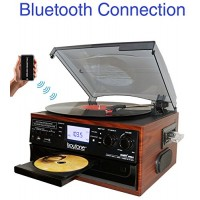 Boytone BT-22M, Bluetooth Record Player Turntable, AM/FM Radio, Cassette, CD Player, 2 built in speaker, Ability to convert Vinyl, Radio, Cassette,...