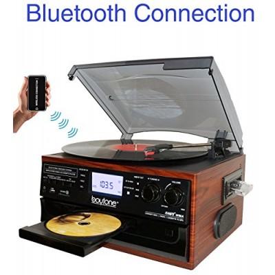 Boytone BT-22M, Bluetooth Record Player Turntable, AM/FM Radio, Cassette, CD Player, 2 built in speaker, Ability to convert Vinyl, Radio, Cassette,...
