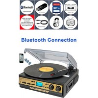 Boytone BT-27G-C Bluetooth connection 3-Speed Stereo Turntable, 2 built in Speakers Digital LCD Display AM/FM Radio, USB/SD/AUX+ Cassette/MP3 & WMA...