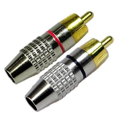 RCA Plug Solderless, Conwork 2-Pack RCA Male Plug Screws Audio Video In-Line Jack Adapter Gold Plated