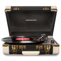 Crosley CR6019A-BK Executive Portable USB Turntable with Software for Ripping & Editing Audio, Black & White