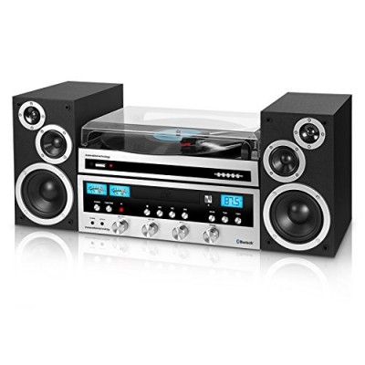 Innovative Technology ITCDS-6000 Classic Retro Bluetooth Stereo System with Turntable, Black and Silver