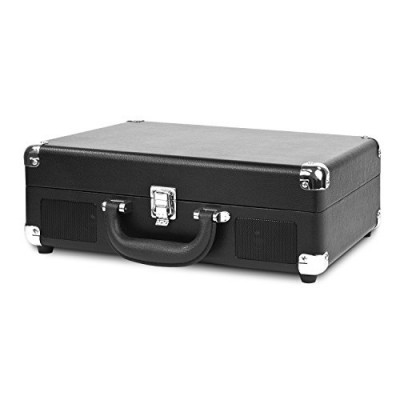 Innovative Technology Nostalgic 3-Speed Vintage Suitcase Turntable, Black