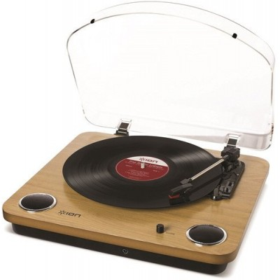 "ION Audio Max LP | 3-Speed Belt Drive Turntable with Built-In Speakers & 1/8"" Aux Input (Natural Wood)"