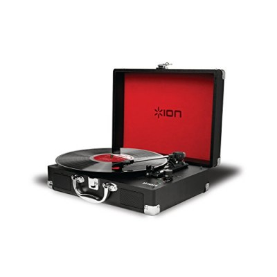 ION Audio Vinyl Motion | Portable 3-Speed Belt-Drive Suitcase Turntable with Built-In Speakers (Black)