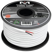 Mediabridge 14AWG 2-Conductor Speaker Wire (100 Feet, White) - 99.9% Oxygen Free Copper - ETL Listed & CL2 Rated for In-Wall Use (Part# SW-14X2-100...