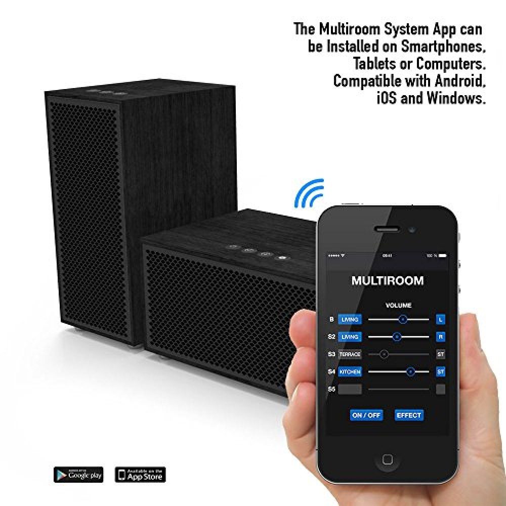 multiroom audio system 2 speaker package includes 1 master speaker 1 satellite speaker. Black Bedroom Furniture Sets. Home Design Ideas