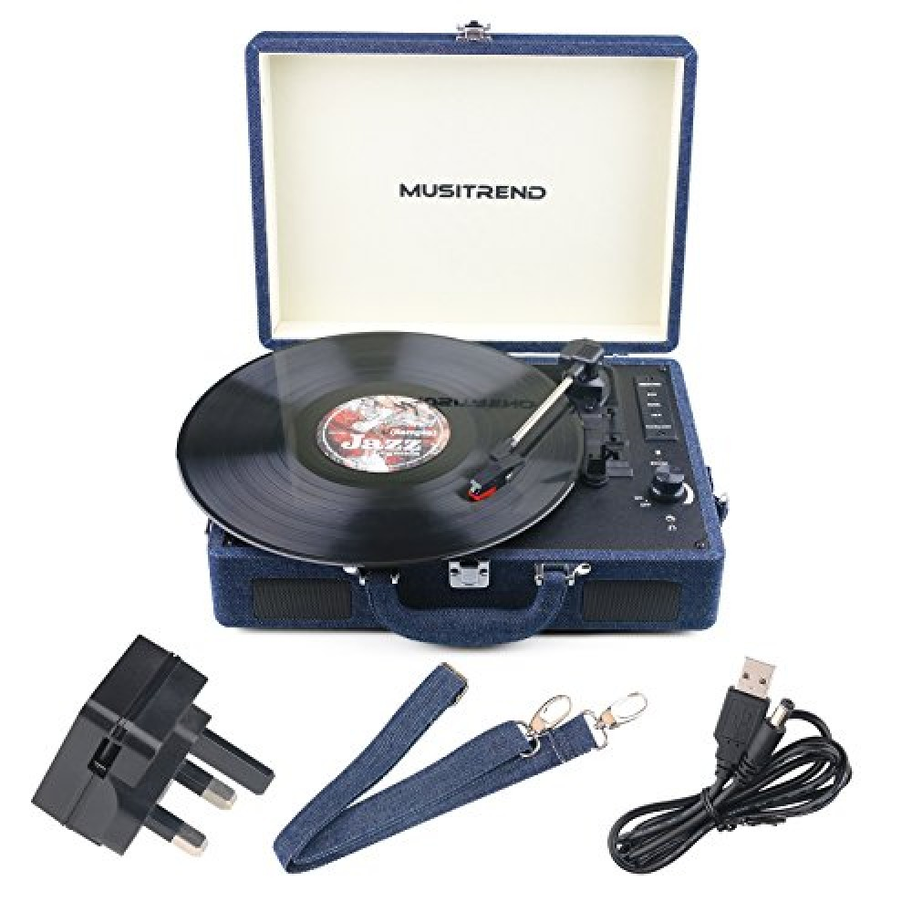 Musitrend Bluetooth Turntable Portable Suitcase Record