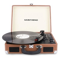 Musitrend Bluetooth Record Player Portable Suitcase Turntable with Built-in Speakers, USB/SD Recorder, Rechargable battery, Headphone Jack, RCA lin...