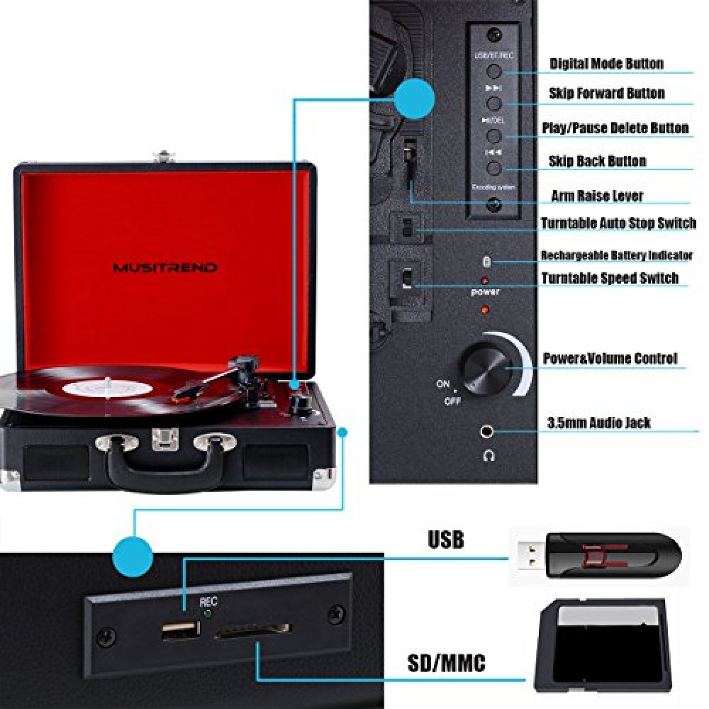 Musitrend Bluetooth Turntable Portable Suitcase Vinyl