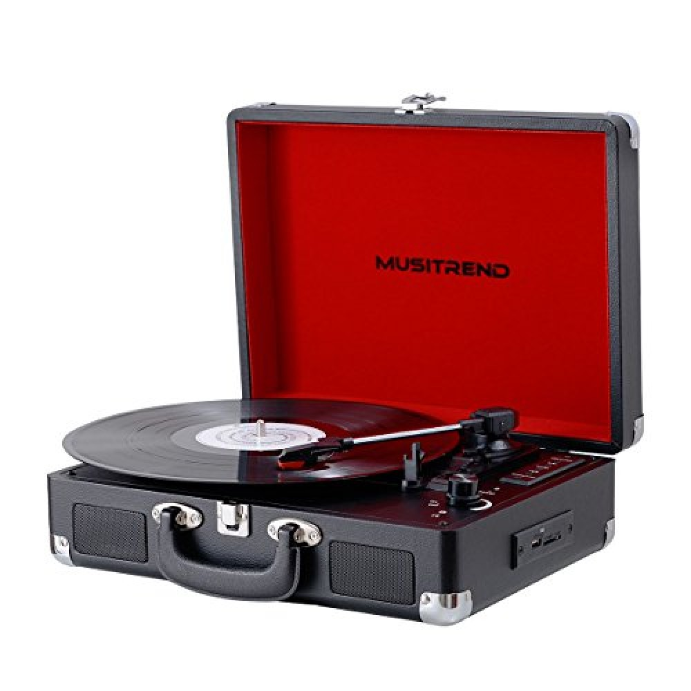 Musitrend Bluetooth Turntable Portable Suitcase Vinyl Records Player With Built-in Speakers, USB