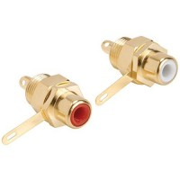 Parts Express Gold RCA Jack Solder Type w/Nut Pair Hex Type