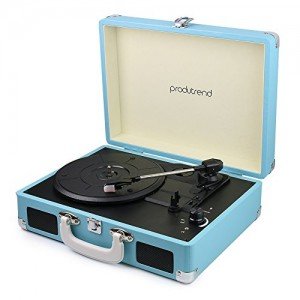 """Vintage Portable Turntable - 3 Speed Record Player Suitcase - Built In Stereo Speaker and Battery - 1/8"""" Stereo Headphone Jack, Aux Input, RCA Outp..."""