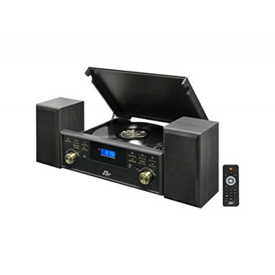 Pyle PPTCM80BTGR Vintage Retro Classic Style Bluetooth Turntable Speaker System with Vinyl/MP3 Recording