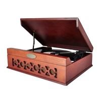 Pyle Updated Bluetooth Retro Turntable - With Speakers, Wireless Record Player, Record Player Convert Vinyl to Mp3, Mac and PC, Includes Music Edit...