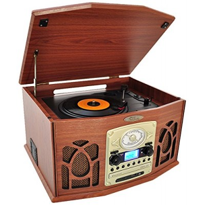 Pyle Vintage Turntable - Retro Vinyl Stereo System With Bluetooth, Cassette and CD Player, USB Recorder, SD Card and Speakers-Record AM/FM Radio an...