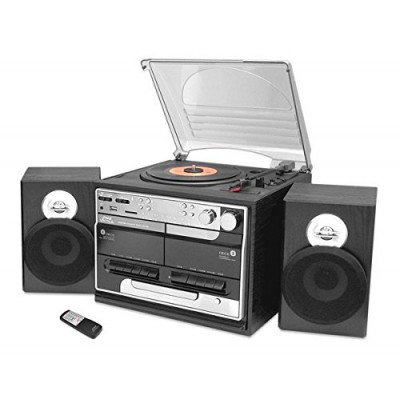 Updated Classic Style Record Player - Bluetooth Turntable with Vinyl to MP3 Recording, Dual Cassette Deck & CD Player, Convert Vinyl to MP3, 3 Spee...