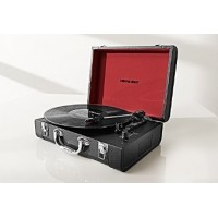 Sharper Image Bluetooth Wireless Portable Turntable With Built-In Speakers (Black)