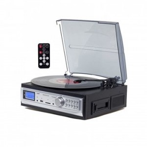 TechPlay ODC19 BK, 3-Speed Turntable & Cassett player W/SD USB, MP3 Encoding System and AM/FM Stereo Radio & built-in speakers