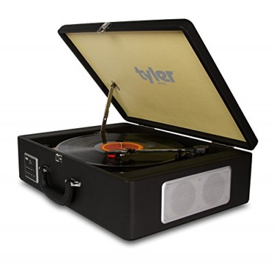 Tyler Bluetooth Briefcase Vinyl Record Player Classic Turntable Stereo System with Built-in Speakers, MP3 Player and USB Recording, Bluetooth, Head...