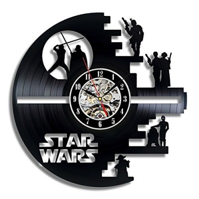 Star Wars Death Star Designed Wall Clock - Decorate your home with Modern Large Darth Vader and Luke Skywalker Art - Best gift for friend, man and ...