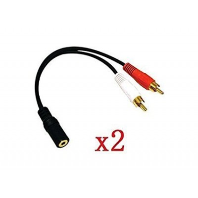 """yueton 2 Pack Gold 3.5mm 6"""" Stereo Female Mini Jack To 2 Male RCA Plug Adapter Audio Y Cable"""